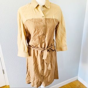 The Limited Tan 3/4 Sleeve Collared Shirt Dress S